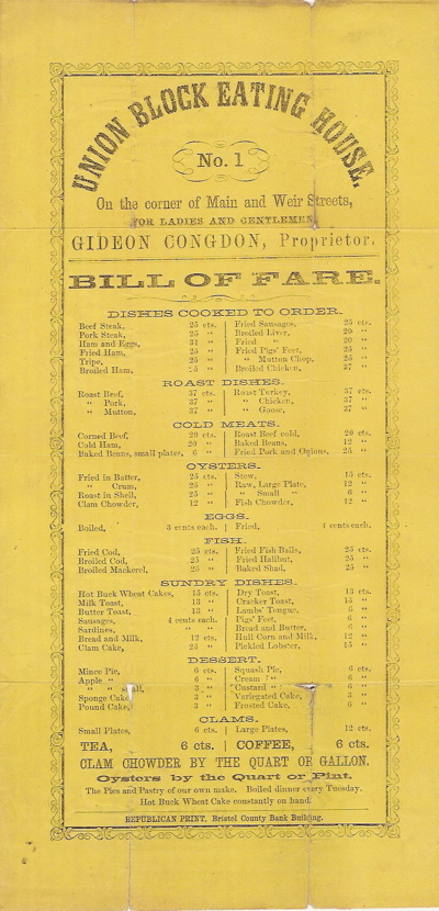 "Broadside Menu, 'Union Block Eating House. No. 1, On the Corner of Main and Weir Street. Gideon Congdon, Proprietor. Bill of Fare."" Menu - Boston, Union Block Eating House."