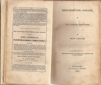 Directions for Cookery, in its Various Branches. Thirty First Edition, with Improvements, Supplementary Receipts, and a New Appendix.