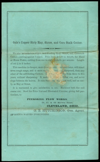 1871, Illustrated Catalogue of Hutchinson's Patent Cider and Wine Mills, Presses, Screws, Grinders, &c., Manufactured and Sold By Peekskill Plow Works, Cleveland, O.