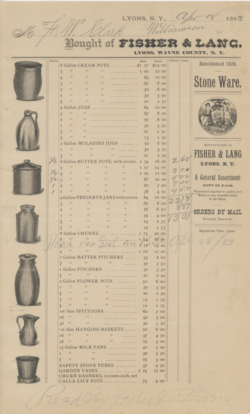 Invoice/Order Sheet for Kitchen Stoneware. Fisher, Lang.