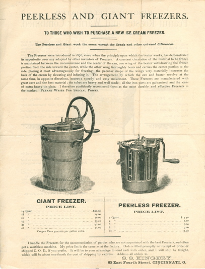 [Broadside] Kingery's Celebrated Peanut Roaster and Warmer Combined [and] Peerless and Giant Freezers.