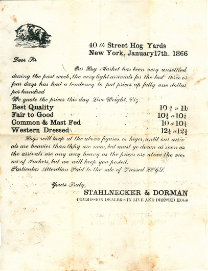 Two one-page typed letters on the state of the Hog Markets. Stahlnecker, Dorman.