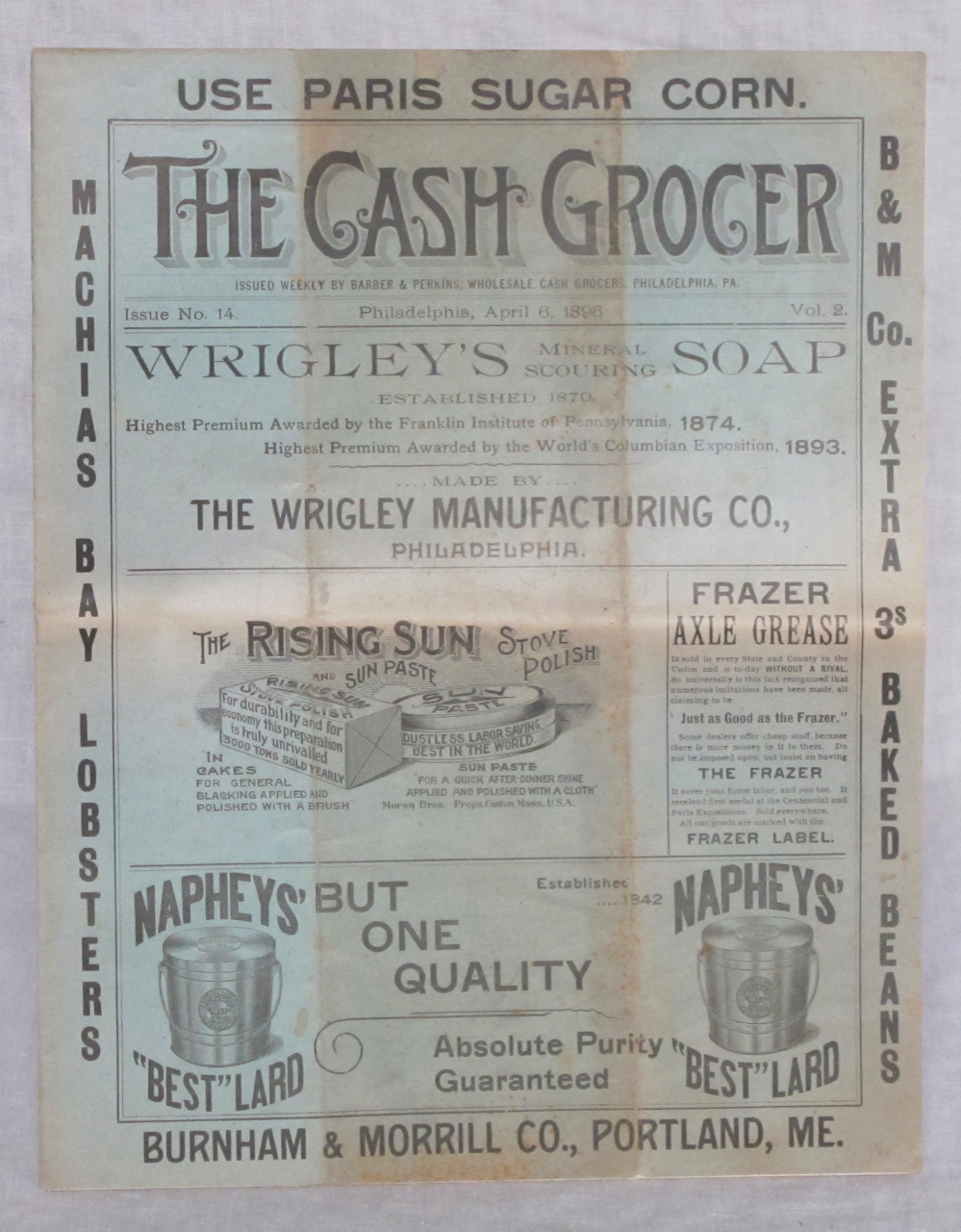 The Cash Grocer : Issued Weekly by Barber & Perkins, Wholesale Cash Grocers, Philadelphia, PA. Vol. 2, Issue No. 14, Philadelphia, April 6, 1896. Barber, Perkins.