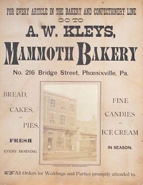 For Every Article in the Bakery and Confectionery Line Go To A.W. Kleys, Mammoth Bakery [...]. Broadside, Photograph Collection – Bakery.