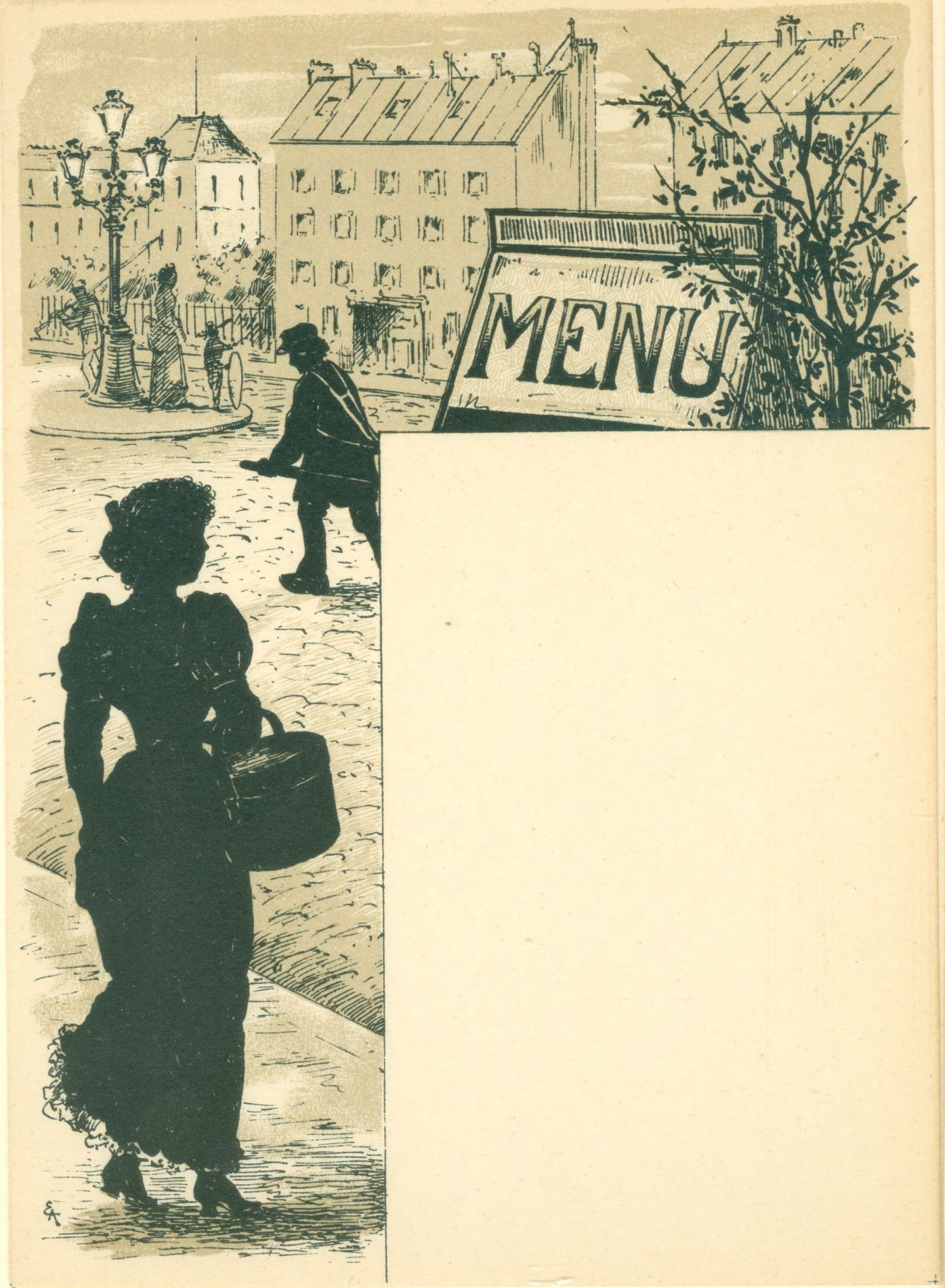 Early 20th Century Lithograph Menu Template. Menu – lithograph.