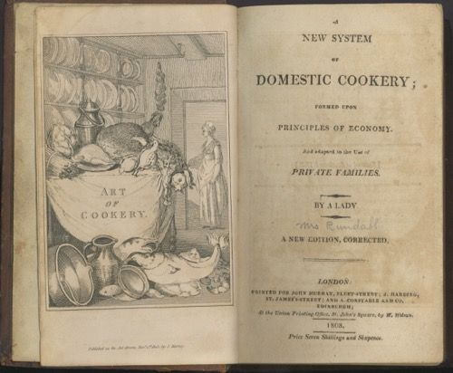 A New System of Domestic Cookery; Formed Upon Principles of Economy, And adapted to the use of private families. By a Lady. Maria Eliza Ketelby Rundell, by a. Lady.