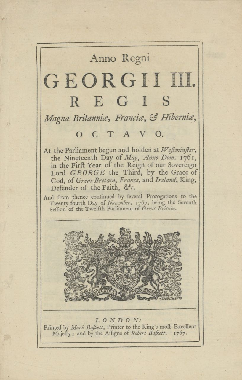Anno Regni Georgii III. Regis Magnae Britanniae... An Act for the free Importation of Indian Corn or Maize, from any of His Majesty's Colonies in America for the Time therein limited. Acts, Maize Ordinances: Corn.