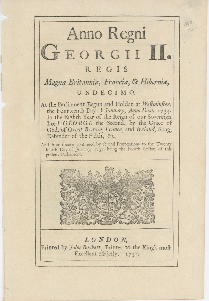 Anno Regni Georgii III. Regis Magnae Britanniae... An Act to continue two several acts therein mentioned; one for securing the growth of Coffee in his Majesty's Plantations in America, and the other for the better securing and encouraging the Trade of His Majesty's Sugar Colonies in America. Acts, Sugar Trade Ordinances: Coffee.
