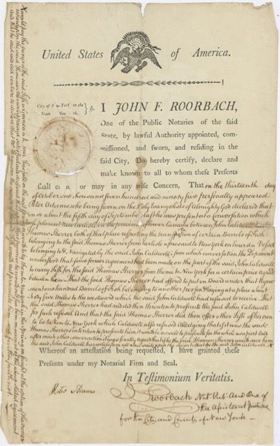 Manuscript legal settlement of a dispute over a delivery of fish. Law – Delivery of fish, Peter. Roorbach Adams, John F.