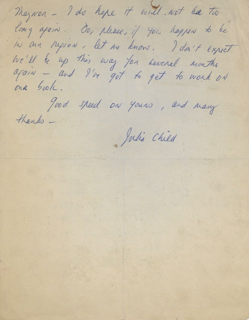 "Autograph Letter Signed (""Julia Child""), to Mr. Fairbanks."
