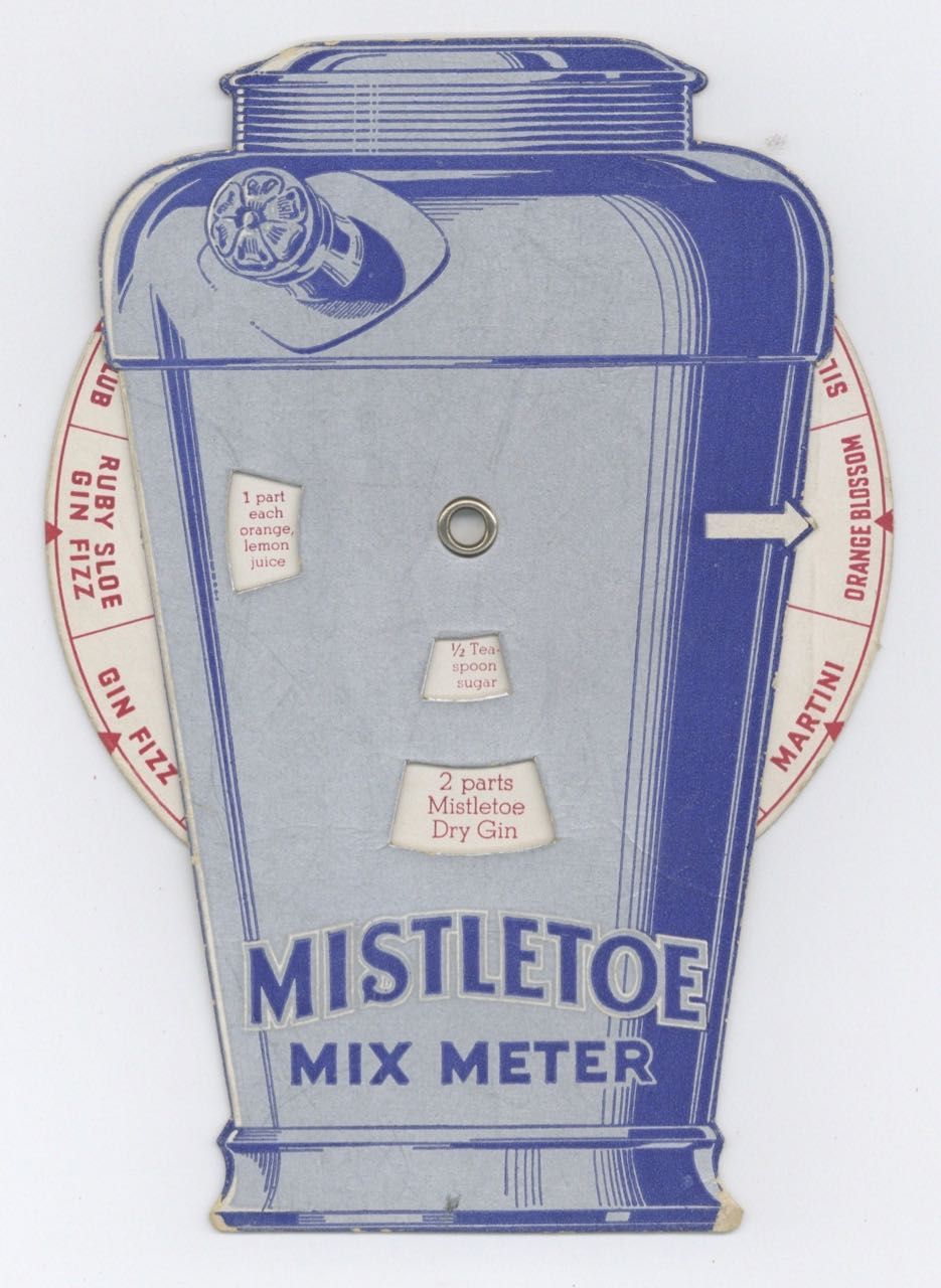 Mistletoe Mix Meter – Gins and Liqueurs Die-cut Cocktail Shaker with Wheel of Drink Recipes. Cocktails – volvelle, National Distilling Co, Wisc Milwaukee.