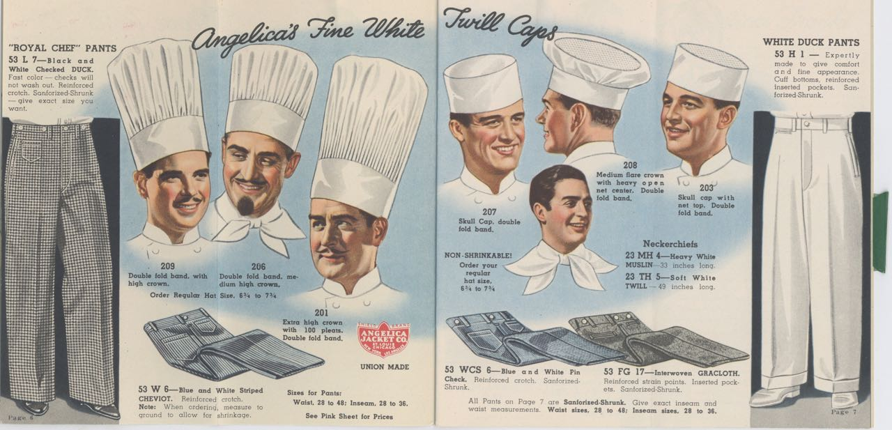 Angelica Cook's Linen, Cutlery, and Recipe Books. Sixty Five Years of Service. Trade catalogue – kitchen, front-of-house wear, Angelica Jacket Company, Mo. St. Louis.