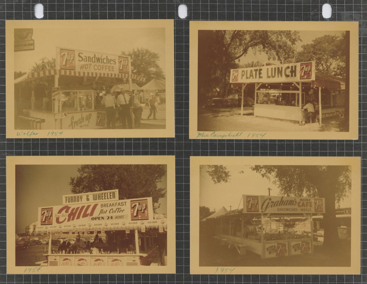 Photographic talley of placement of 7UP advertising]. Photo collection – Iowa State Fair Lunch Stands.