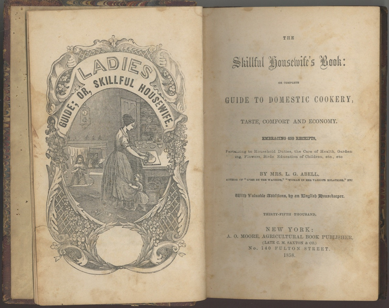 The Skillful Housewife's Book: Or Complete Guide to Domestic Cookery, Taste, Comfort, and Economy. Embracing 659 Receipts pertaining to Household Duties, the Care of Health, Gardening, Flowers, Birds, Education of Children, etc., etc. Thirty-Fifth Thousand. L. G. Mrs Abell.