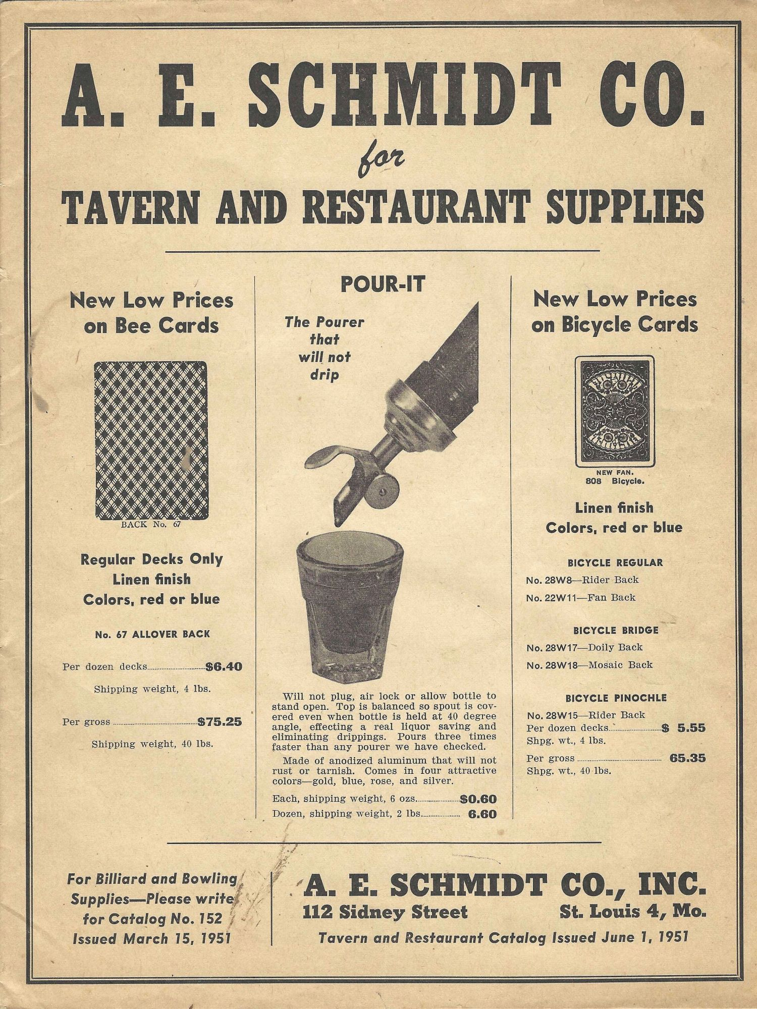 Tavern and Restaurant Cataloguing, Issued June 1, 1951. Trade catalogue – Bar equipment, Inc A E. Schmidt Co., Mo. St. Louis.
