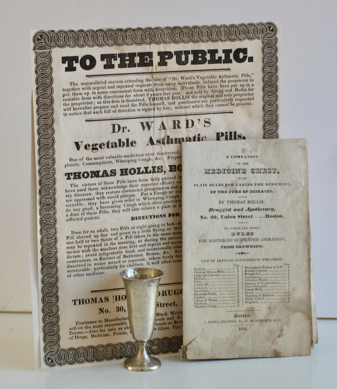 """A Companion to the Medicine Chest, with plain rules for taking the medicines in the cure of diseases. By Thomas Hollis... to which are added rules for restoring suspended animation, from drowning. [WITH:] To the Public. The unparalleled success attending the use of Dr. Ward's Vegetable Asthmatic Pills. """" ... induced the proprietor to put them up in some convenient form with directions …"""" Thomas Patent Medicine – Hollis."""