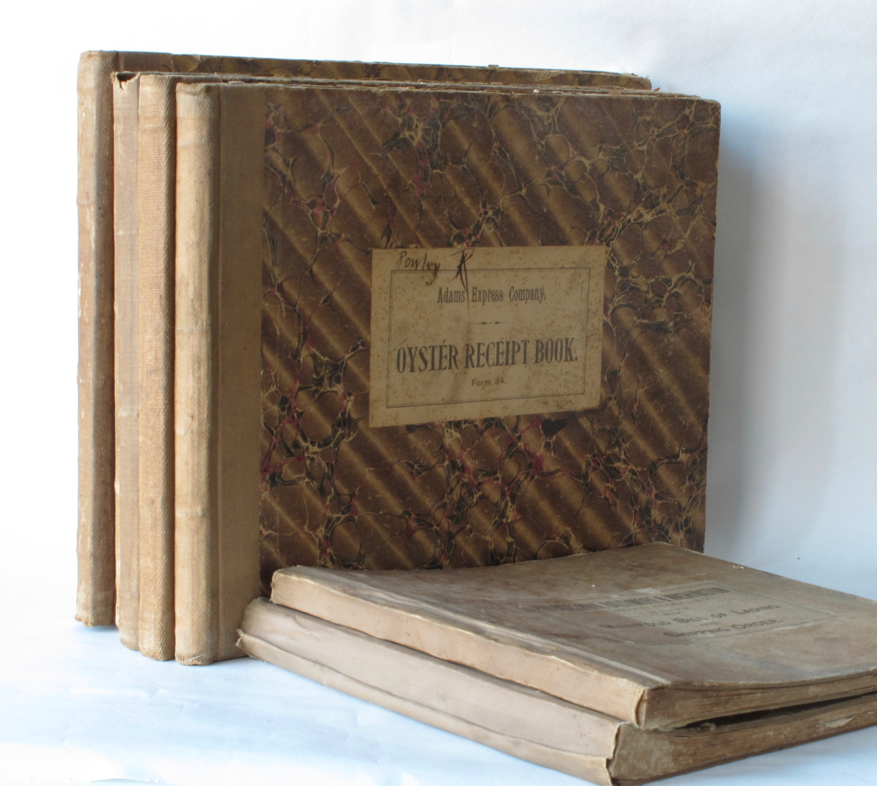 [Oyster Receipt Book. Form 34; with: Manifold Bill of Lading and Shipping Order; G-22-d-A.F.R. Book]. Oysters – transportation, Adams Express Company, Baltimore Philadelphia, Washington Railroad Company.