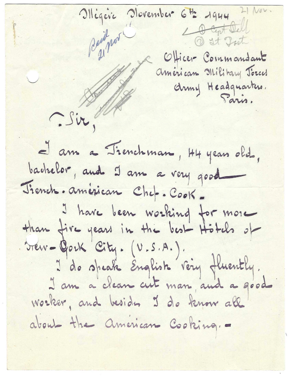 [Autograph Letter Signed, a French chef''s employment inquiry with the American Military forces]. Food, Labor, Military cooking, Mr. Louis E. Jacquet.