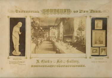 Centennial Souvenir of New York. N. Clark's Art Gallery, Restaurant and Confectionery. Broadway, Corner of Thirteenth Street. . W. Pach, ustavus.
