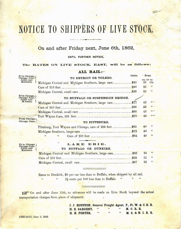 Notice to Shippers of Live Stock. On and after Friday next, June 6th, 1862. Broadside –...