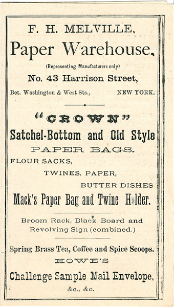 Crown Satchel-Bottom and Old Style Paper Bags. Paper Warehouse F H. Melville.