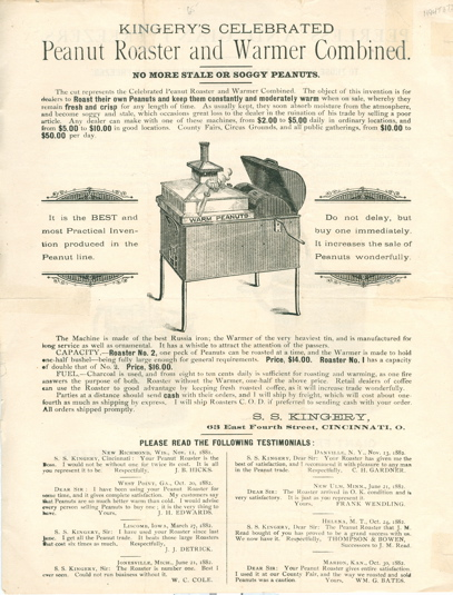 [Broadside] Kingery's Celebrated Peanut Roaster and Warmer Combined [and] Peerless and Giant Freezers. S. S. Kingery.
