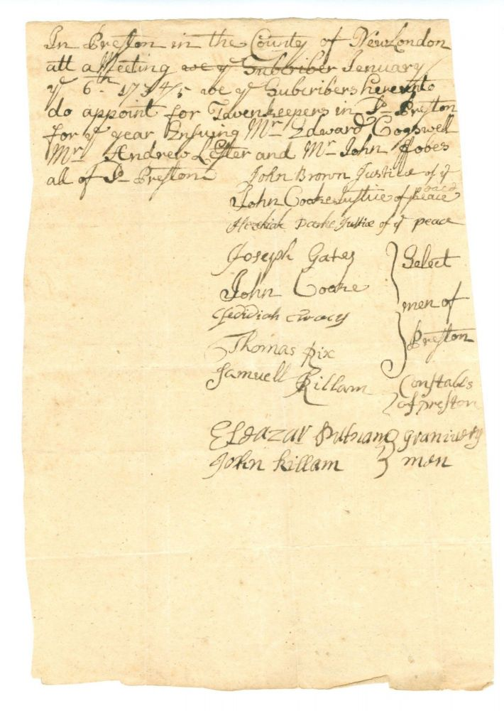 A Collection of Twenty-five Early American Tavern Licenses and Related Documents from Southern Vermont and Connecticut. Early American Tavern License Collection.