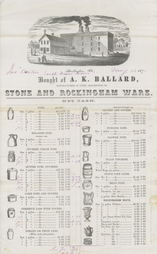 Bought of A.K. Ballard, Manufacturer of Every Description of Stone and Rockingham Ware. Billhead...