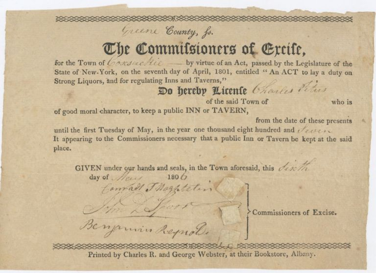 Early 19th century New York Liquor and Tavern Licenses]. Tavern Licenses, Charles Titus