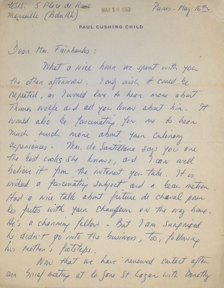 "Autograph Letter Signed (""Julia Child""), to Mr. Fairbanks. Julia Child"