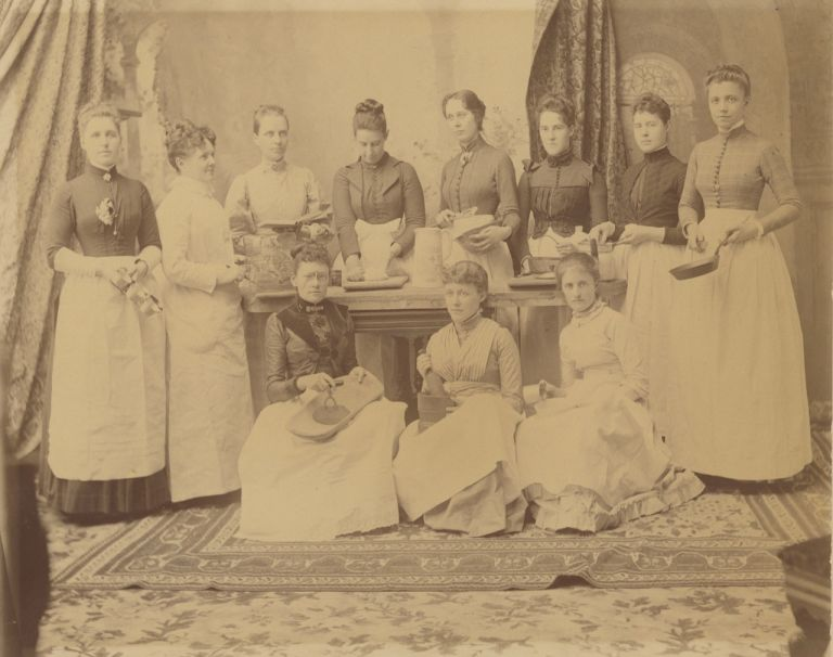 Fannie Farmer and her classmates at the Boston Cooking School or at Miss Farmer's School of...