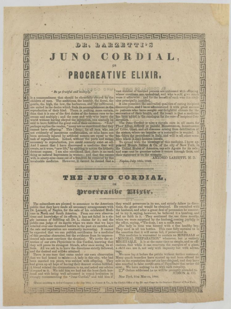 "Dr. Lazaretti's Juno Cordial, or procreative elixir, ""Be ye fruitful and multiply…""...."