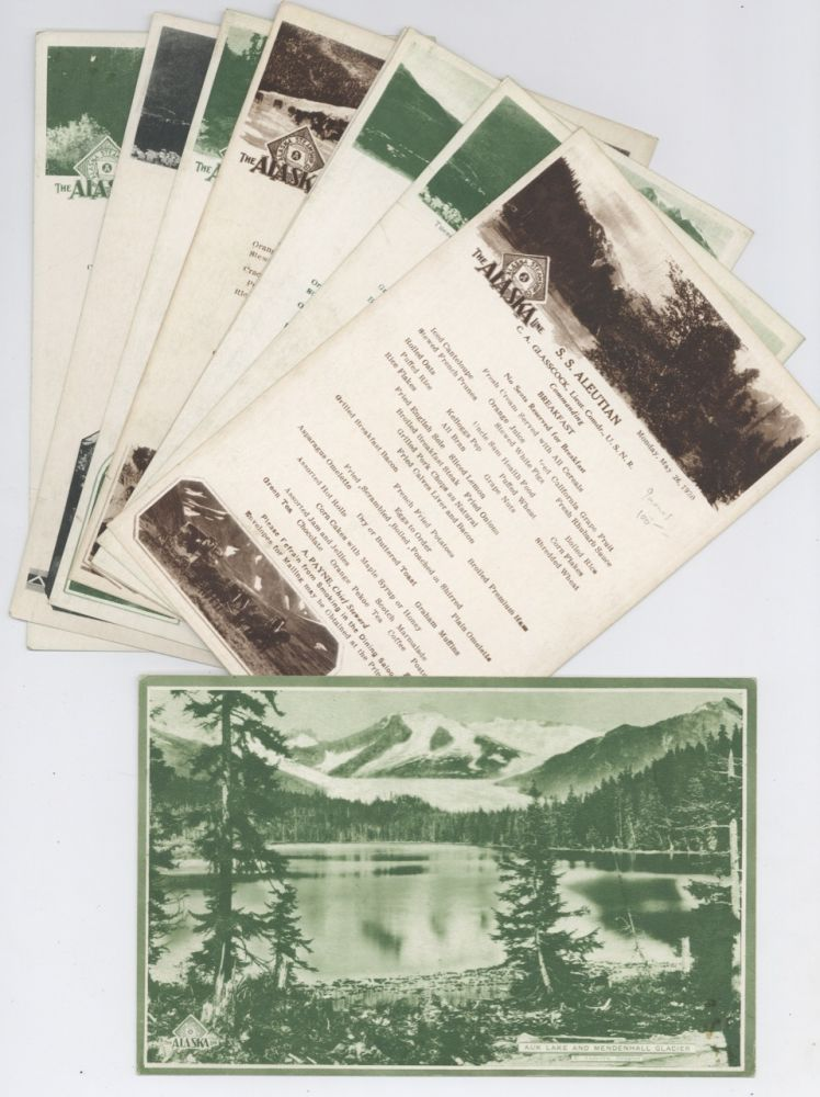 Menus from the S.S. Aleutian. The Alaska Line, Ed Andrews, B. C. Vancouver, Douglas photographer,...