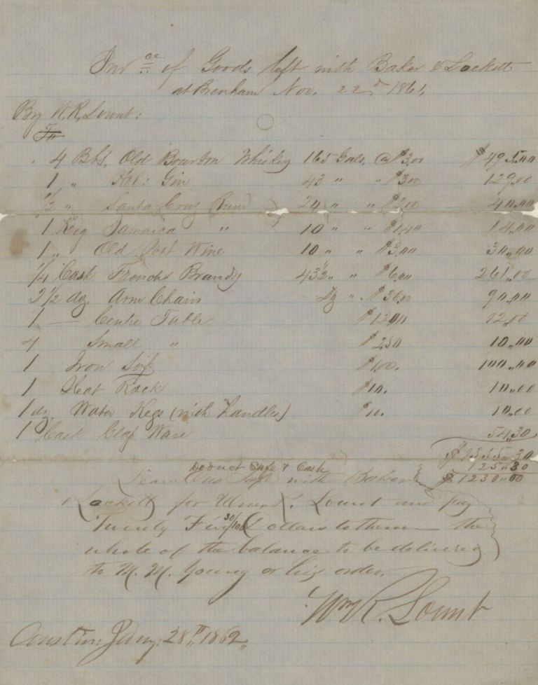Inv.ce of Goods left with Baker & Lockett, at Brenham, Nov. 22nd, 1861. Manuscript – W. R....