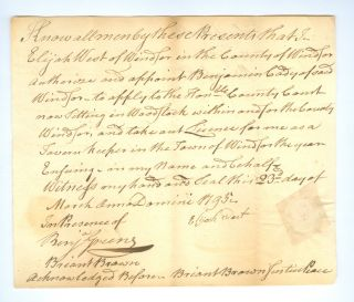 A Collection of Twenty-five Early American Tavern Licenses and Related Documents from Southern Vermont and Connecticut.
