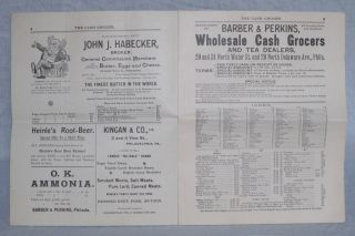 The Cash Grocer : Issued Weekly by Barber & Perkins, Wholesale Cash Grocers, Philadelphia, PA. Vol. 2, Issue No. 14, Philadelphia, April 6, 1896.