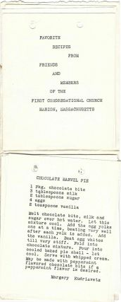 [Food is Fun.] Favorite Recipes from Friends and Members of the First Congregational Church, Marion Massachusetts.