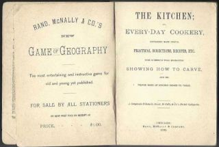 The Kitchen; or, Every-day Cookery, Containing Many Useful Practical Directions, Recipes, etc. with Numerous Wood Engravings Showing How to Carve, and the Proper Mode of Sending Dishes to Table. A Companion Volume to Rand, McNally & Co.'s Pocket Encyclopedia. [Everyday].